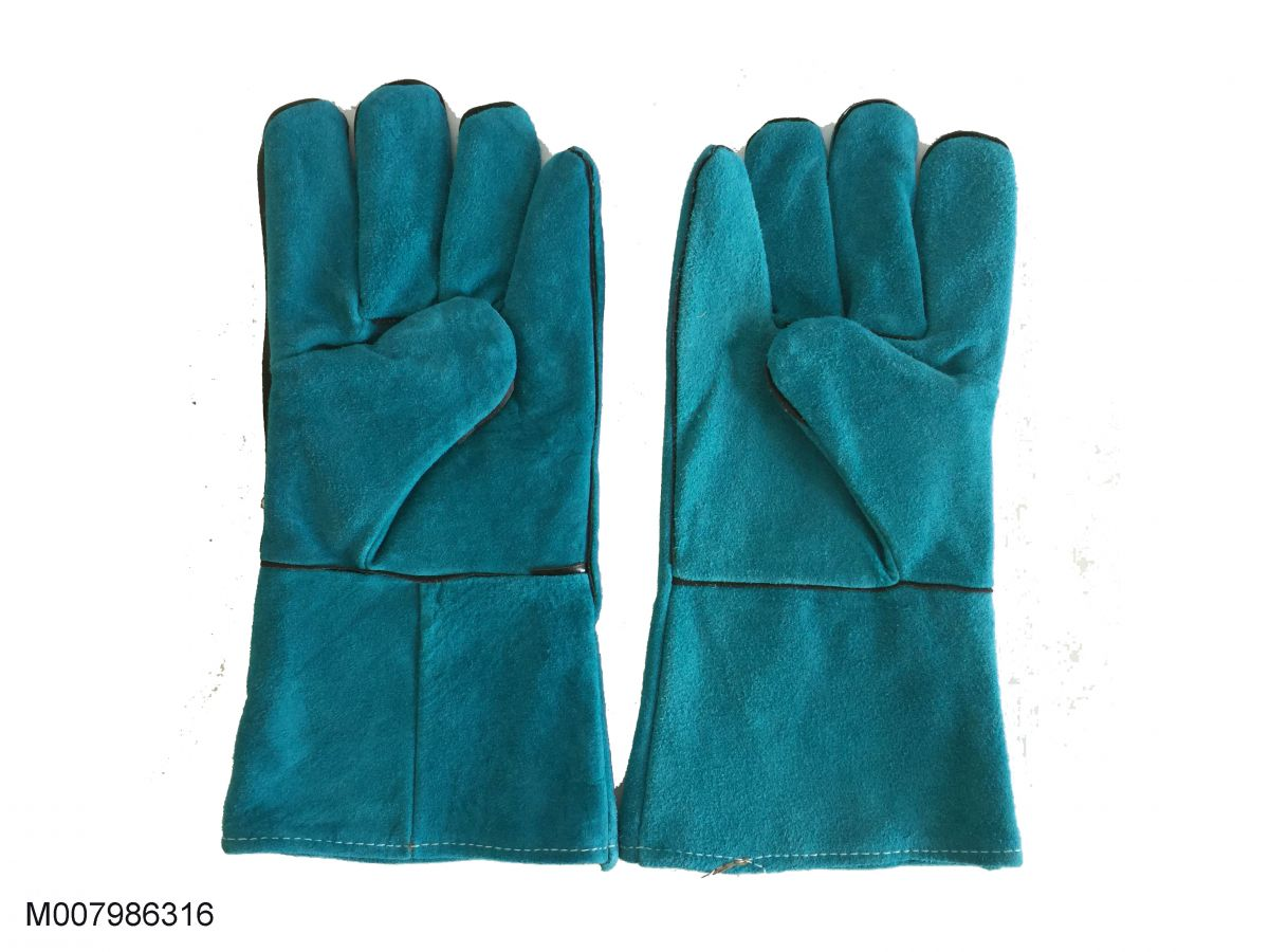 Găng tay da hàn Pháp 02 lớp màu xanh nhạt dài 31Cm