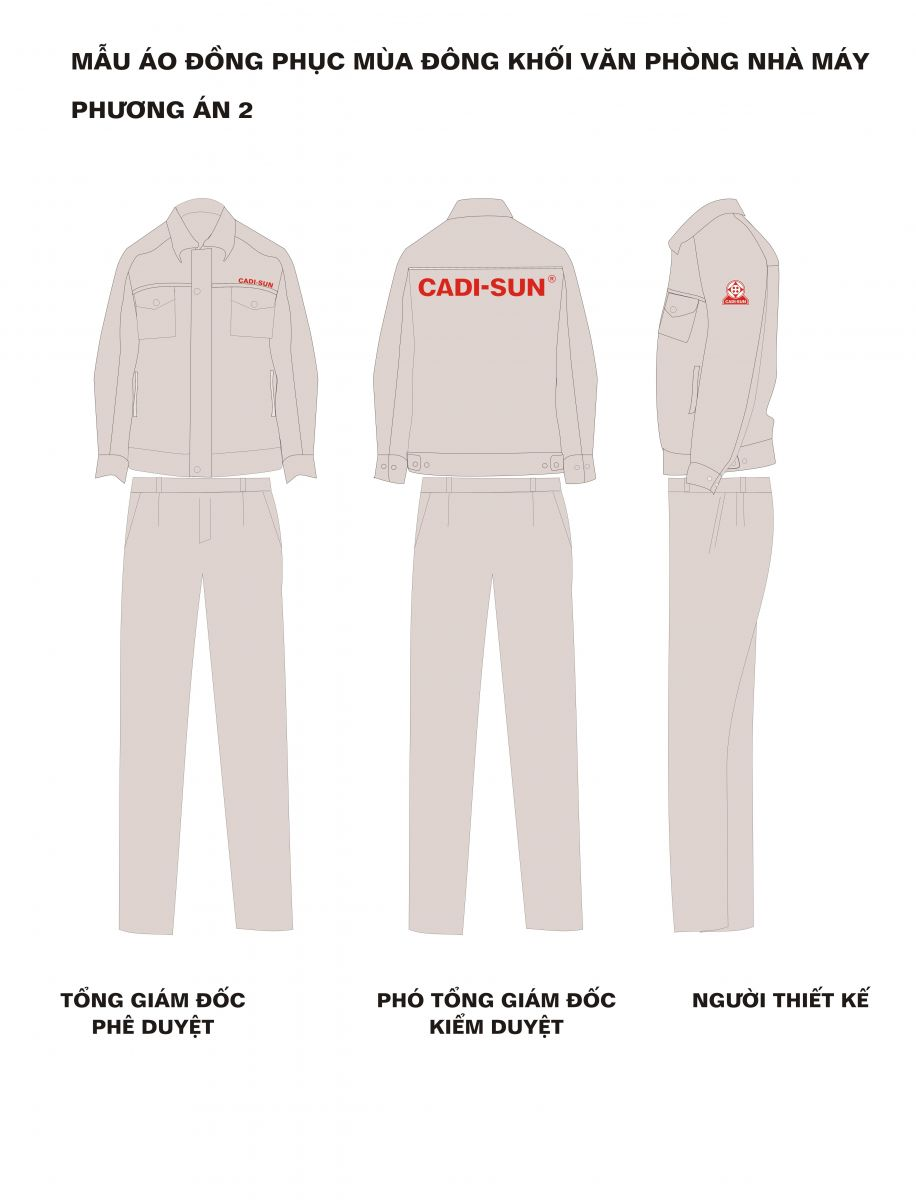 Mẫu thiết kế quần áo bảo hộ CADI-SUN